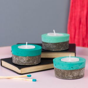 Set Of Three Colour Block Concrete Tea Light Holders - what's new