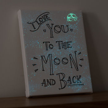 'I Love You To The Moon' Glow In The Dark Star Canvas
