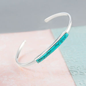 Silver Turquoise Open Adjustable Cuff Bangle - modern-boho
