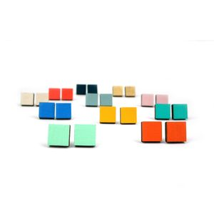 Geometric Square Stud Earrings - earrings