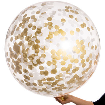 White And Gold Giant Confetti Balloon