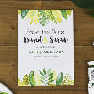 Tropical Leaves Save The Date Card