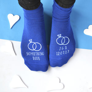 Something Blue Personalised Groom's Wedding Socks