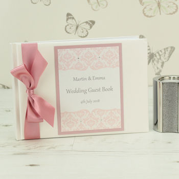 Personalised Damask Wedding Guest Book