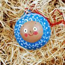 Hand Painted Christmas Character Baubel, Blue Design