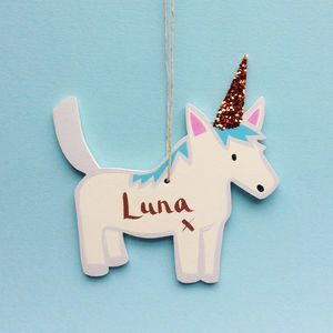 Little Personalised Unicorn Decoration