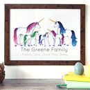Personalised Unicorn Family Portrait Print