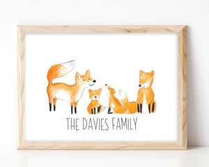 Personalised Family Fox Portrait Print
