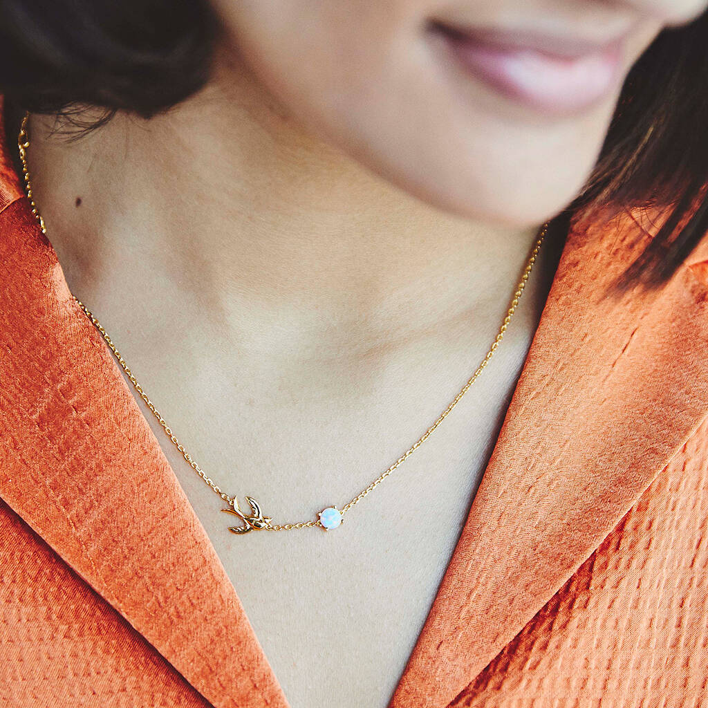 Fearne X Carrie 'happy Place' Swallow Necklace by Carrie Elizabeth Jewellery