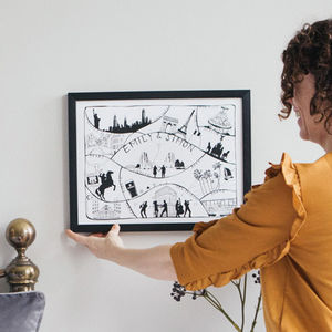 Personalised Travel Adventures Map Print - 16th birthday gifts