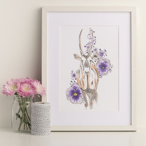 Antelope And Pansy Art Print - winter sale