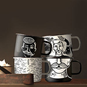 Enamel Gentleman's Grooming Mugs Set Of Four - kitchen