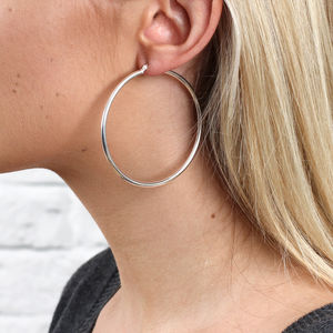 Sterling Silver Large Hoop Earrings - earrings