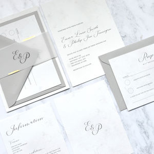 Marble With Foil And Vellum Wedding Invite