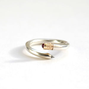 Pencil Ring Sterling Silver, Gold And Ruby