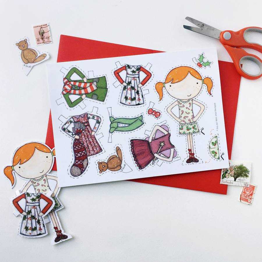 Paper doll christmas card by clara and macy notonthehighstreet interactive festive dress up card kristyandbryce Image collections