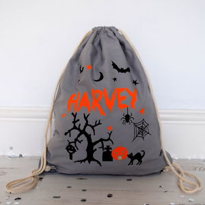 Grey Halloween Trick Or Treat Backpack