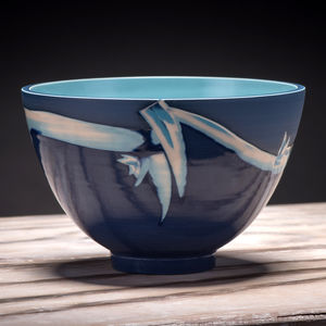 Cobalt Blue And Turquoise Ceramic Bowl - tableware