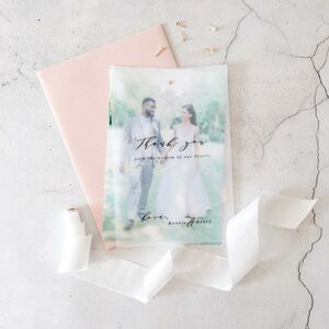 40 Personalised Thank You Vellum And Photo Cards