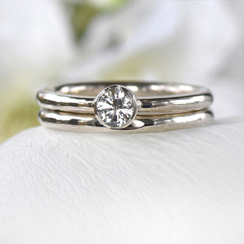White Sapphire Engagement Ring Set
