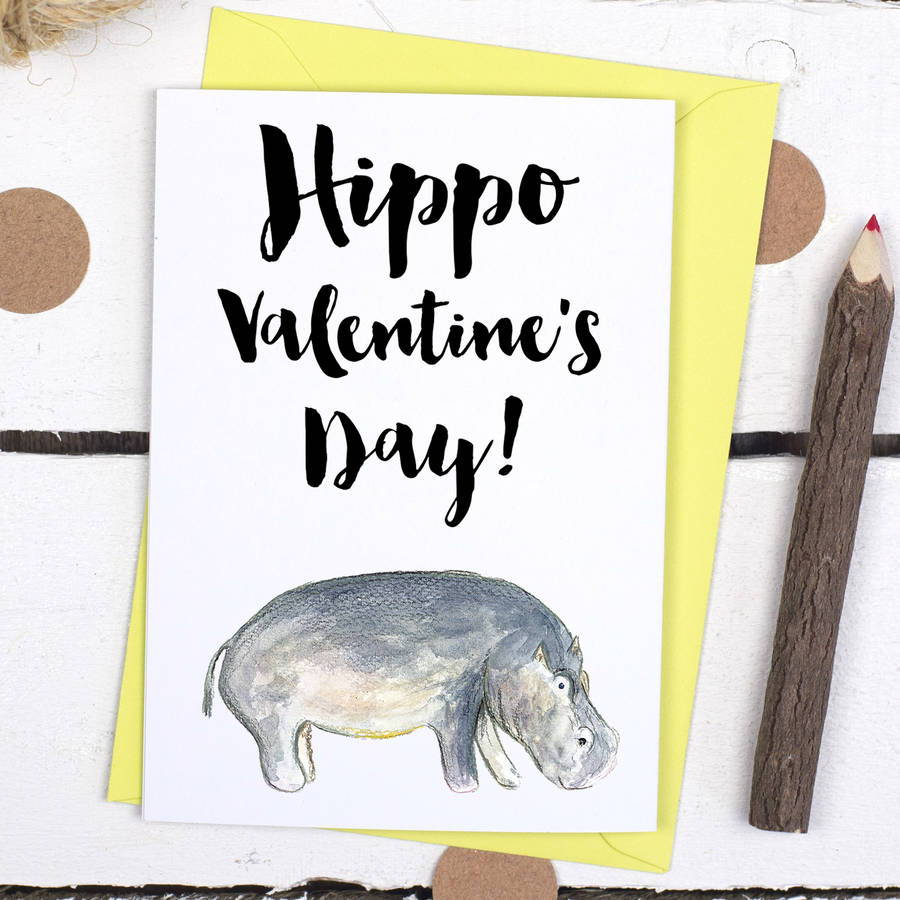 Hippo Valentineu0027s Day Animal Pun Card