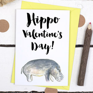 Hippo Valentine's Day Animal Pun Card - valentine's cards
