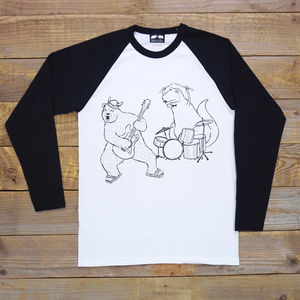 Bear And Dinosaur Rock Out Raglan Top