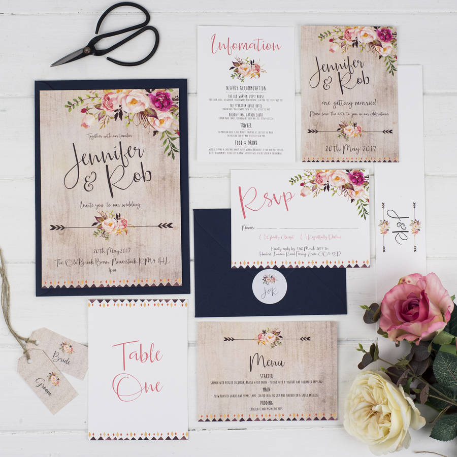 boho floral wedding invitation by russet and gray