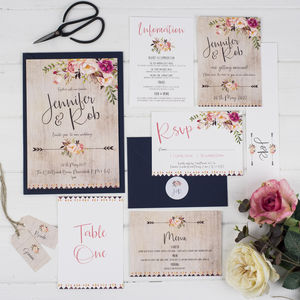 Boho Floral Wedding Invitation - wedding stationery