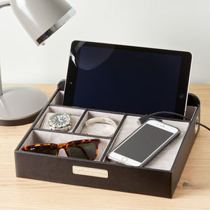 Men's Leather Charging Station And Organizer