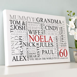 Personalised 60th Birthday Word Art Print - canvas prints & art