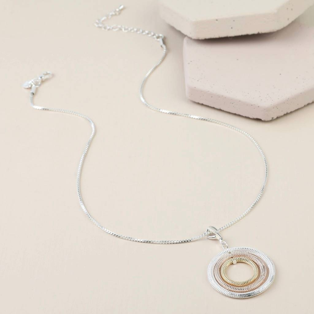circle necklaces pendant pendants color triple tri gold necklace