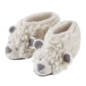 Unisex Cream Woolly Sheep Felt Slippers