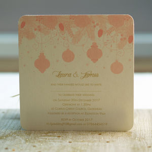 Peach Winter Wedding Invitations