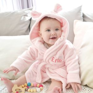Personalised Pink Fleece Baby Robe With Ears