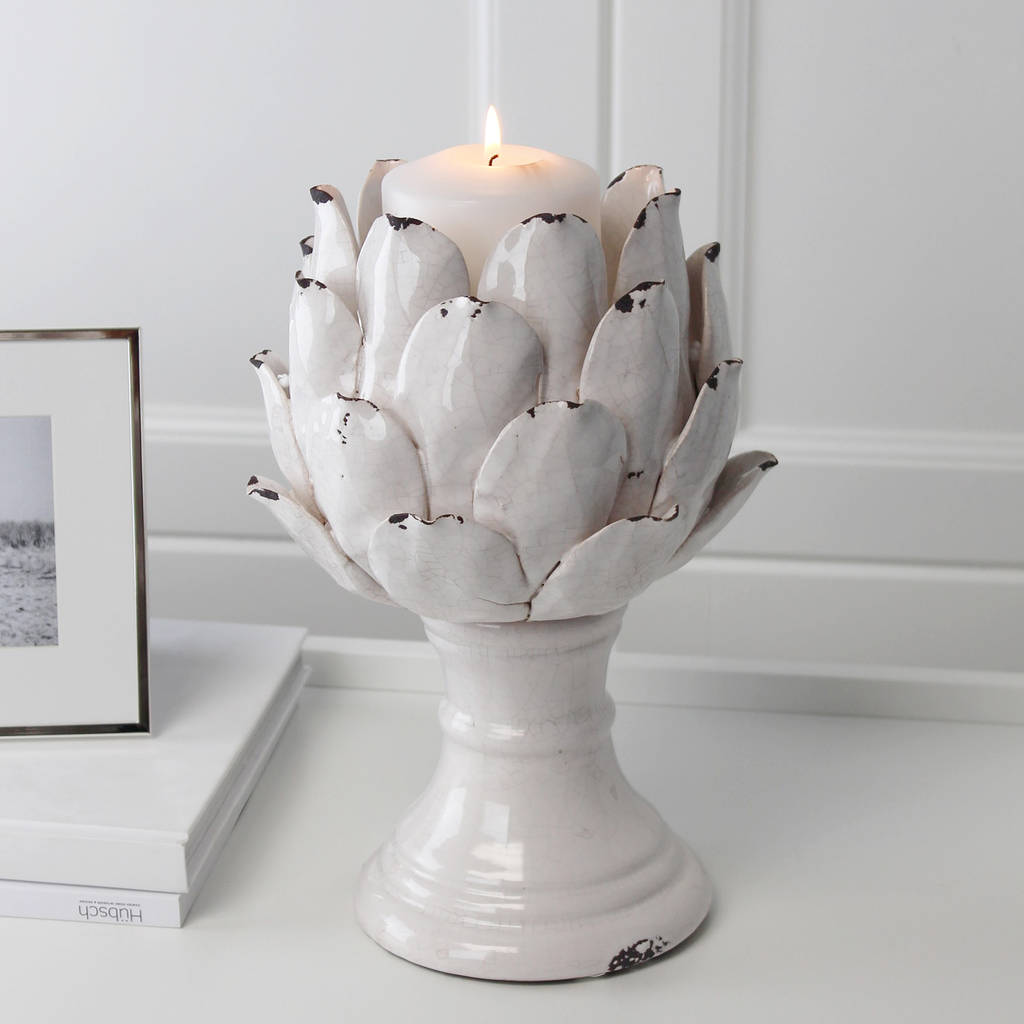 distressed flower candle holder by marquis & dawe