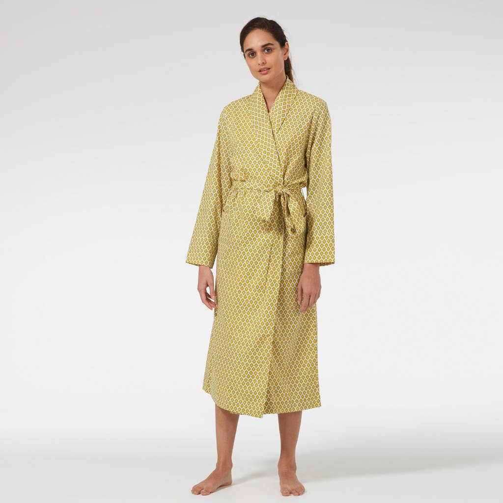 778e8315bde Ladies Cotton Dressing Gown In Yellow Print