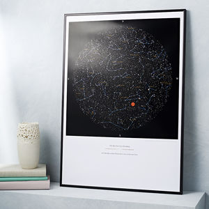 Personalised Map Of The Stars Print - 30th birthday gifts