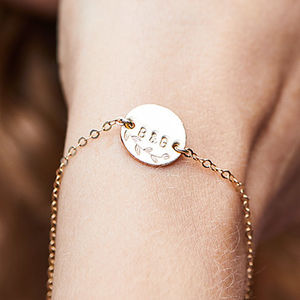 Personalised Botanical Gold Disc Bracelet - gifts for her