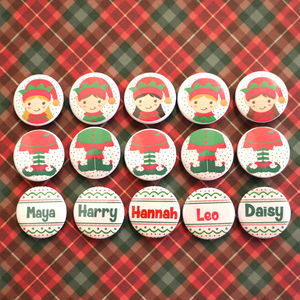 Personalised Elf Badge Set