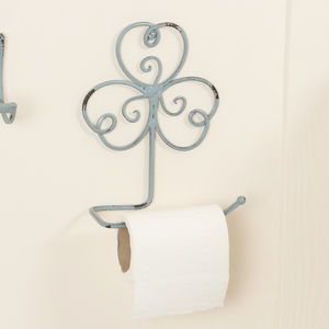 Charming Powder Blue Clover Loo Roll Holder - bathroom