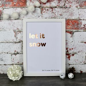 Christmas Let It Snow Copper Foiled Typography Print