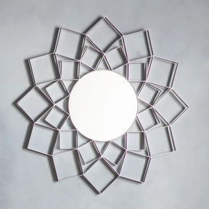 Silver Flower Wall Mirror - home accessories