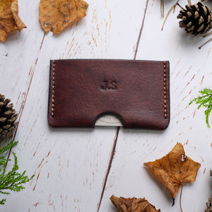 Personalised Slim Leather Card Holder - 60th birthday gifts