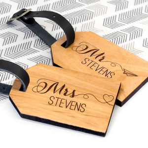 Personalised Wooden Honeymoon Luggage Tags - best wedding gifts