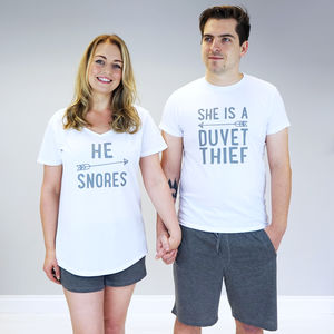 Personalised His And Her Pyjama Set - lingerie & nightwear