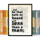 'He That Hath No Beard' Shakespeare Quote Book Print