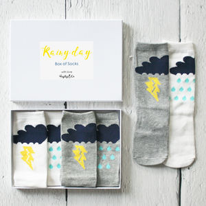Little Box Of Rainy Day Childrens Socks - stocking fillers