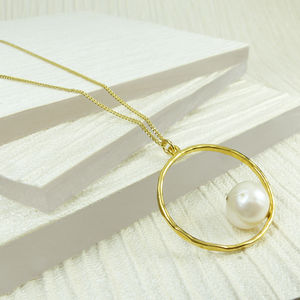 Circle Pendant With White Pearl - necklaces & pendants