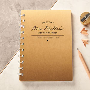 Personalised Gold Wedding Planner Pocket Notebook - shoreline wedding trend
